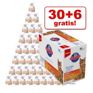 30 + 6 på köpet! 36 x 85 g Hill's Feline portionspåsar! - Adult Urinary & Hairball Control Chicken