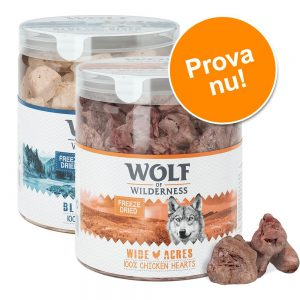 Blandpack: 2 sorter Wolf of Wilderness - frystorkat premiumgodis Wide Acres & High Valley (160 g)