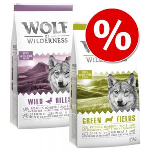 Blandat ekonomipack: 2 x 12 kg Wolf of Wilderness hundmat - Green Fields + Wild Hills