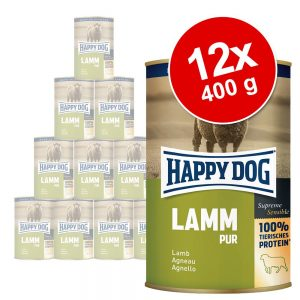 Ekonomipack: Happy Dog pure 12 x 400 g - Mix Lamm, Kalkon, Nötkött, Buffel, Lax