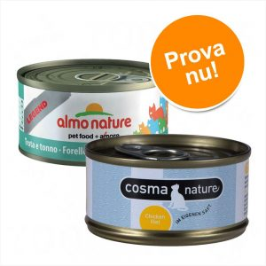 Superblandpack: 24 x 70 g Almo Nature Legend och 6 x 70 g Cosma Nature! - Tonfisk, kyckling & ost + Cosma Nature provpack