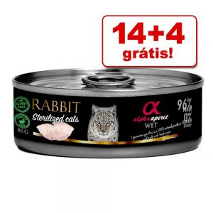14 + 4 på köpet! Alpha Spirit Cats våtfoder 18 x 85 g - Adult Turkey