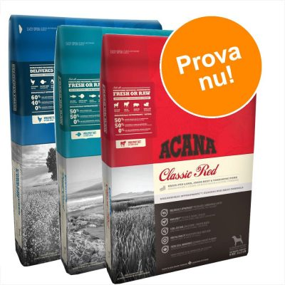 Provpack: 3 x 2 kg Acana hundfoder - Grass-Fed Lamb + Pacific Pilchard + Yorkshire Pork