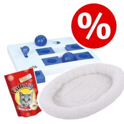 Sparset: Fluffy 2in1 säng + Trixie Cat Activity + Catessy snacks 65 g - L 48 x B 40 x H 8 cm brun
