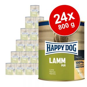 Ekonomipack: Happy Dog pure 24 x 800 g - Mix Lamm, Kalkon, Nötkött, Buffel, Lax