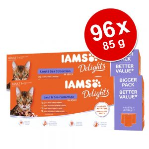 Ekonomipack: IAMS Adult Delights 96 x 85 g - Land & Sea mix i sås
