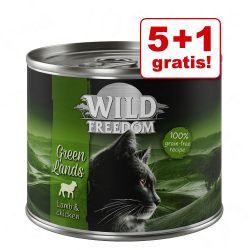 5 + 1 på köpet! Wild Freedom Adult 6 x 200 g - Wide Country - Chicken pur