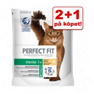 2 + 1 på köpet! 3 x 750 g Perfect Fit kattfoder! - Junior Kyckling