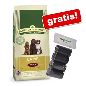 En stor påse James Wellbeloved hundmat + bajspåsar på köpet! - Adult Lamb & Rice (15 kg)