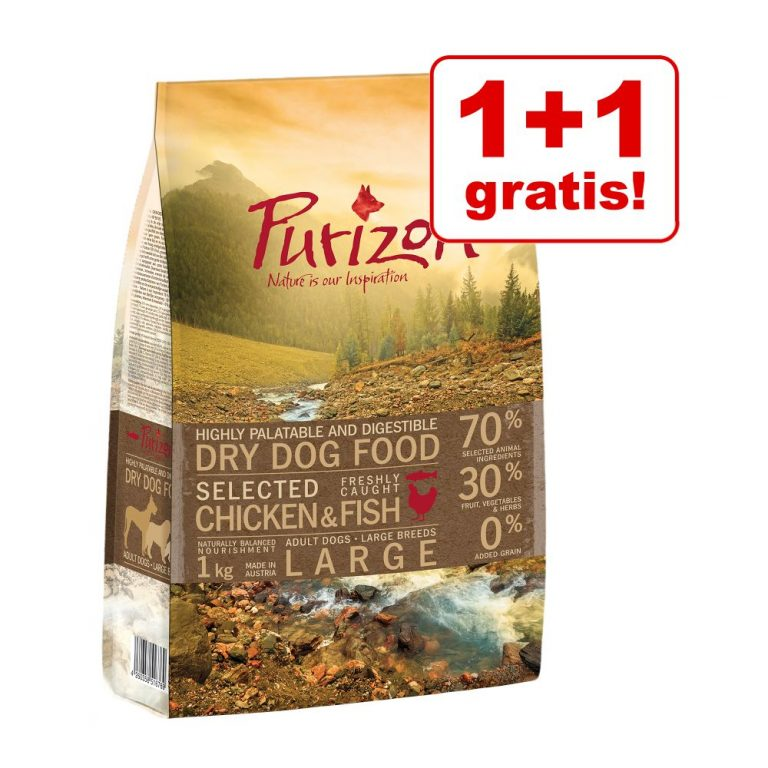 1 + 1 på köpet! 2 x 1 kg Purizon torrfoder för hund - Adult Chicken & Fish