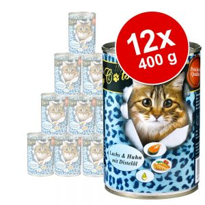Ekonomipack: O'Canis for Cats 12 x 400 g - Kanin & kyckling med laxolja