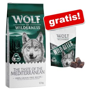 Wolf of Wilderness: 12 kg torrfoder + snack (180 g) på köpet! - Adult Green Fields Lamb + Wolfshappen Lamb