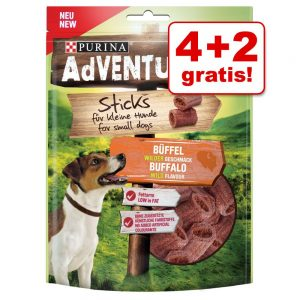 4 + 2 på köpet! AdVENTuROS hundgodis - Mini-Sticks 5 x 90 g