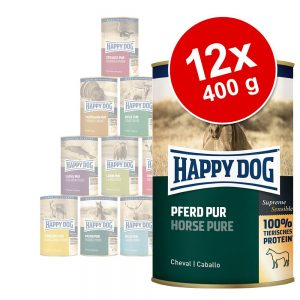 Ekonomipack: Happy Dog pure 12 x 400 g Häst
