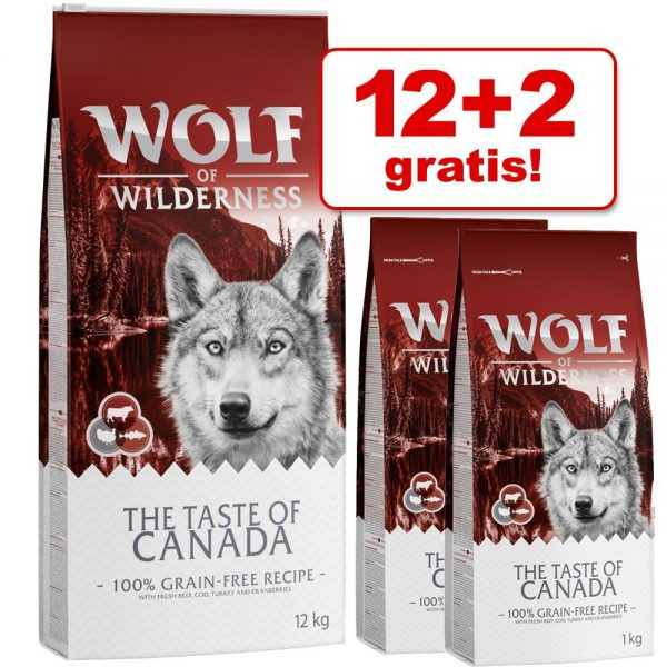12 + 2 kg på köpet! 14 kg Wolf of Wilderness torrfoder - Adult Wide Acres - Huhn (Soft & Strong)