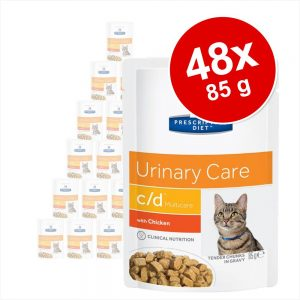 Ekonomipack: Hill's Prescription Diet Feline 48 x 85 g portionspåsar 85 g k/d Kidney Care Beef i portionspåse
