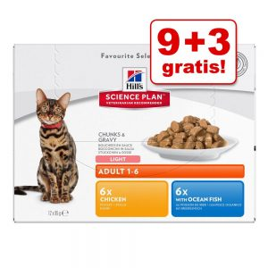 9 + 3 på köpet! 12 x 85 g Hill's våtfoder för katter Young Adult Sterilised Cat Chicken