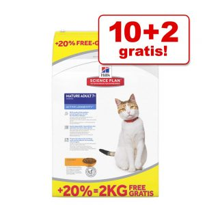 10 + 2 kg på köpet! 12 kg Hill's Feline torrfoder Adult 1-6 Optimal Care Light Chicken