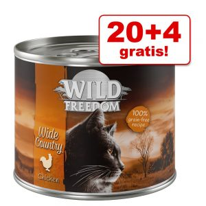 20 + 4 på köpet! Wild Freedom 24 x 200 / 400 g - Wide Country - Chicken Pure 24 x 200 g