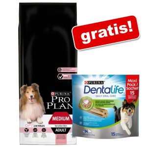 Stor påse Pro Plan + Purina Dentalife Snacks på köpet! Medium Adult Sensitive Skin OPTIDERMA 14 kg