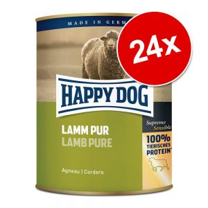Ekonomipack: Happy Dog pure 24 x 800 g Mix Lamm, Kalkon, Nötkött, Buffel, Häst, Anka