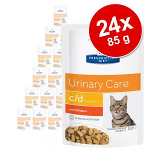 Ekonomipack: Hill's Prescription Diet Feline 24 x 85 g portionspåsar - 85 g c/d Multicare Chicken i portionspåse