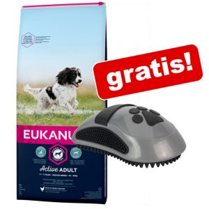 Eukanuba hundfoder + FURminator Curry Comb massageborste på köpet! - Adult Medium Chicken 15 kg