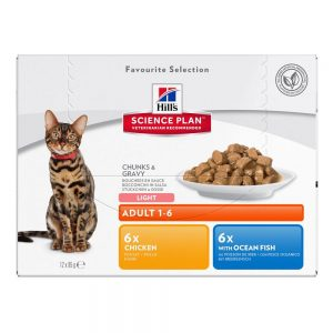 Hill's Science Plan Adult Cat Optimal Care Pouches - 12 x 85 g Favourite Selection