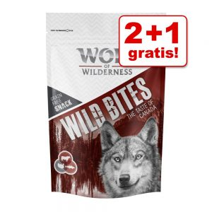 2 + 1 på köpet! 3 x 180 g Wolf of Wilderness Snack - Wild Bites - Wide Acres - Chicken