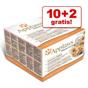 10 + 2 på köpet! 12 x 70 g Applaws Adult våtfoder - Chicken Selection