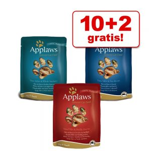 10 + 2 på köpet! 12 x 70 g Applaws Selection / Jelly kattmat - Fiskvarianter