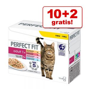 10 + 2 på köpet! 12 x 85 g Perfect Fit våtfoder Indoor 1+ Kyckling & ärtor