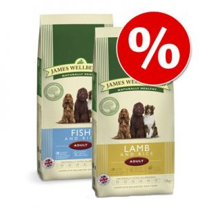 Blandat ekonomipack: 2 x 15 kg James Wellbeloved hundfoder - Adult Lamb & Rice + Adult Fish & Rice (2 x 15 kg)