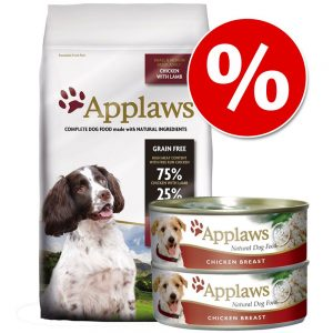 Blandpack: 15 kg Applaws torrfoder + 12 x 156 g våtfoder till sparpris! - Adult Small & Medium Breed Chicken