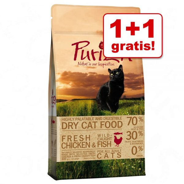 1 + 1 köpet! 2 x 400 g Purizon torrfoder för katt - Adult Sterilised Chicken & Fish