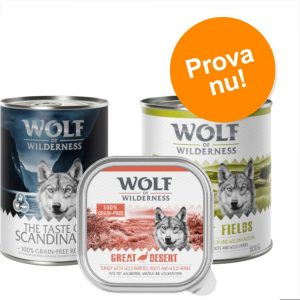 Blandpack: Wolf of Wilderness våtfoder 6 x 300 g portionspåse: Soft & Strong - Lamb, Beef, Rabbit, Veal
