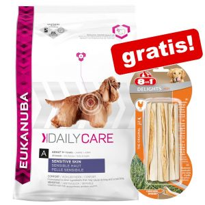 1 påse Eukanuba hundmat + 8in1 godis på köpet! - Thriving Mature Medium Breed Chicken (15 kg) + tuggpinnar