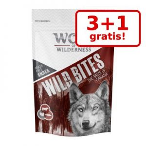 3 + 1 på köpet! 4 x 180 g Wolf of Wilderness Wild Bites Snacks - Wild Hills - Duck