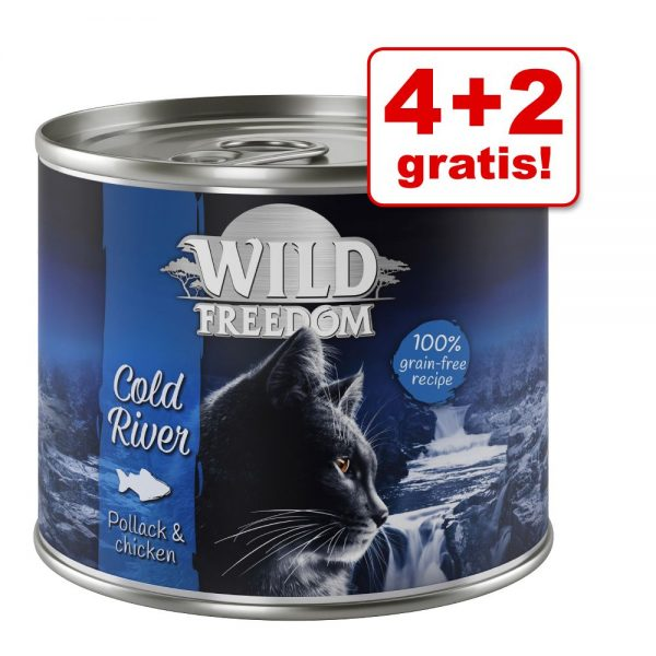 4 + 2 på köpet! Wild Freedom våtfoder 6 x 200 / 400 g - Green Lands - Lamb & Chicken 6 x 200 g