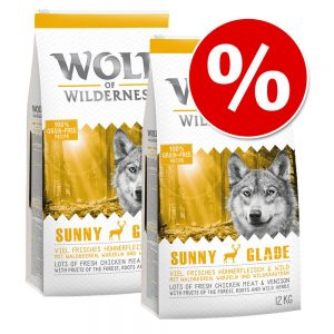 Ekonomipack: 2 x 12 kg Wolf of Wilderness hundmat - Junior - Wild Hills