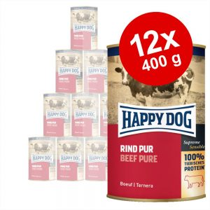 Ekonomipack: Happy Dog pure 12 x 400 g - Kalkon