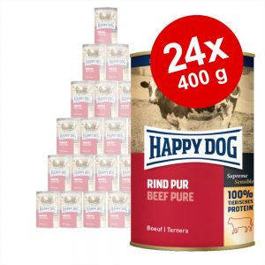 Ekonomipack: Happy Dog pure 24 x 400 g - Kalkon