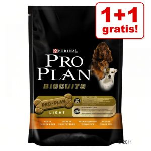 1 + 1 på köpet! 2 x Pro Plan hundgodis - 2 x 400 g Biscuits Light