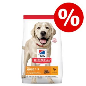 15 % rabatt! Hill's Science Plan Light hundfoder - Adult 1-6 Light Medium (14 kg)