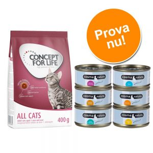 Provpack: 400 g Concept for Life + 6 x 70 g Cosma Nature - Indoor Cats + Cosma Nature