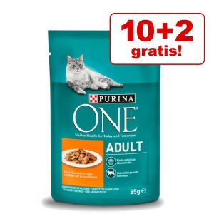 10 + 2 på köpet! 12 x 85 g Purina One kattmat - Adult Coat & Hairball
