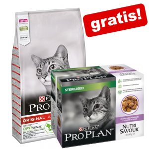 10 kg PRO PLAN kattfoder + 10 x 85 g Nutrisavour Sterilised på köpet! - Original Adult Rich in Chicken