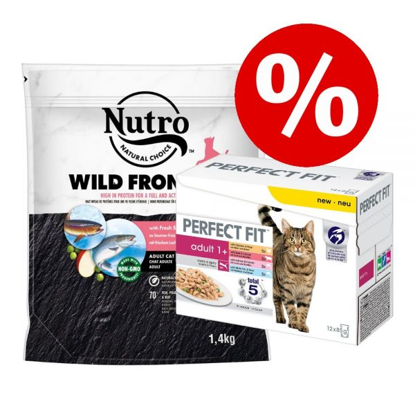 1,4 kg Nutro torrfoder + 12 x 85 g Perfect Fit Mixpack till sparpris! - Adult Salmon & White Fish